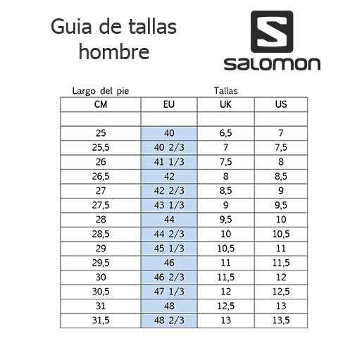 tabla de tallas de zapatillas salomon